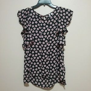 Elle Floral Ruffle Sleeve Blouse Size Small